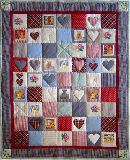 Quilt Patchwork Kinderdecke Country Bear